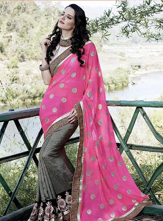 printed worked saree