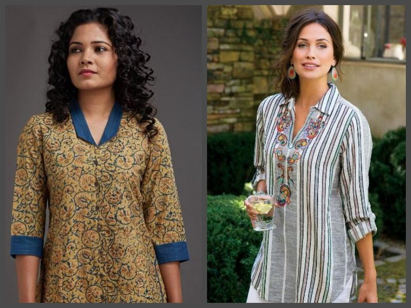 Pattern ladies suit neck Top 30+